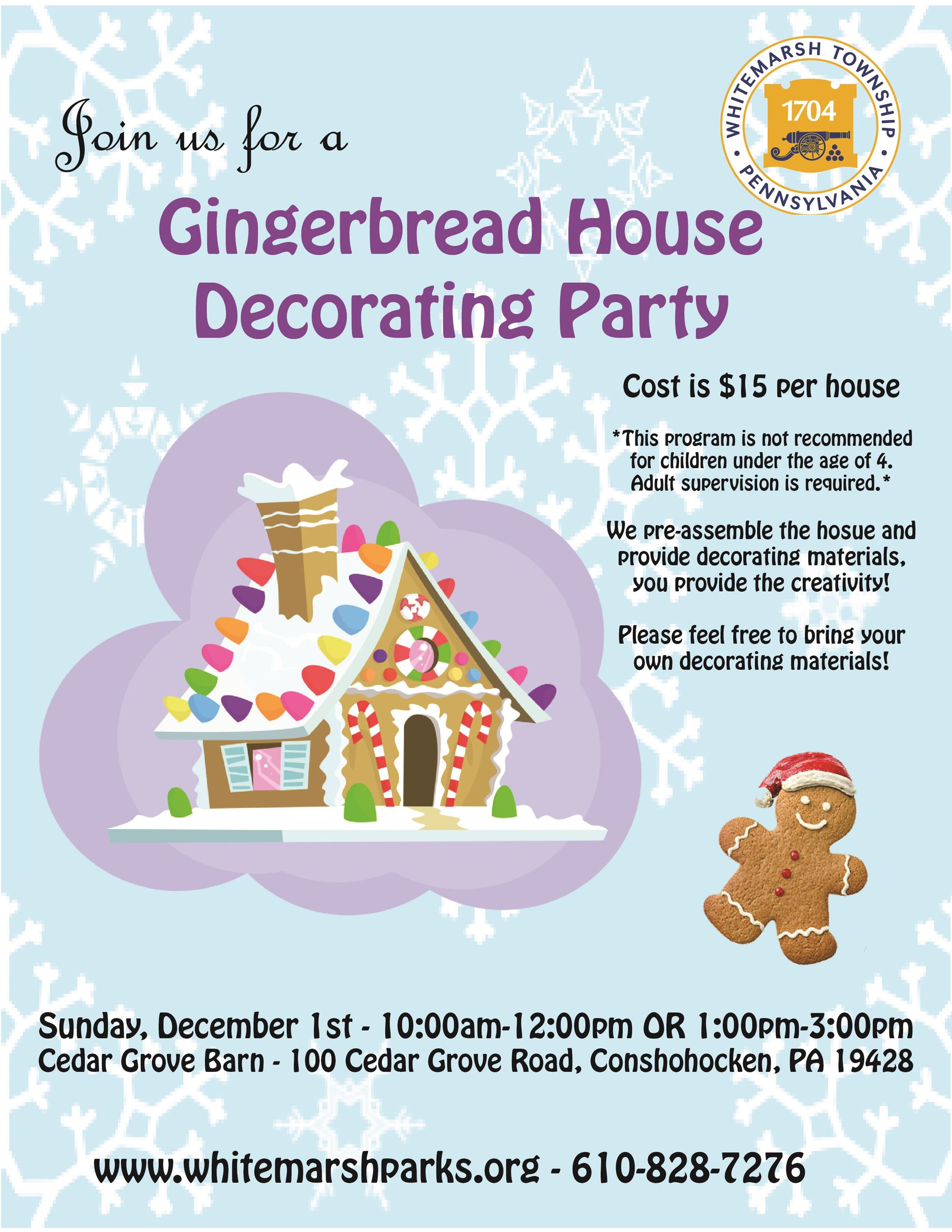 Gingerbread House Decorating Party event flyer